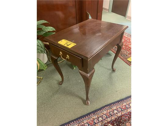 """MAHOGANY END TABLE ON DRAWER, 19"""" X 27"""" X 24""""H"""