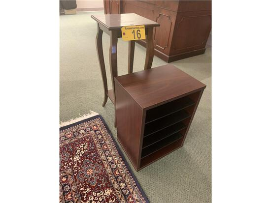 BOMBAY CO. PLANT STAND & MAHOGANY PAPER FILE