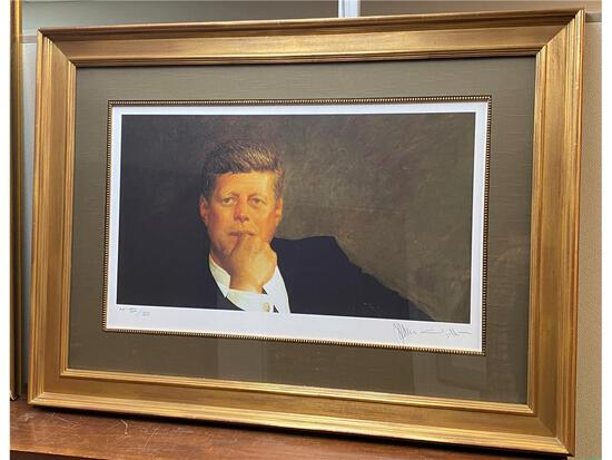 """""""JOHN F. KENNEDY"""" PENCIL SIGNED ARTIST PROOF 12/20 BY JAMIE WYETH, DOUBLE MATTED & FRAMED TO 44 X 32"""