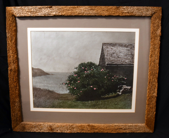 """""""ISLAND ROSES"""" PRINT BY JAMIE WYETH, DOUBLE MATTED AND FRAMED TO 34 X 29"""