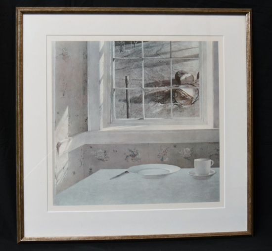 """""""GROUND HOGS DAY"""" PRINT BY ANDREW WYETH, DOUBLE MATTED AND FRAMED TO 26 X 25.76"""