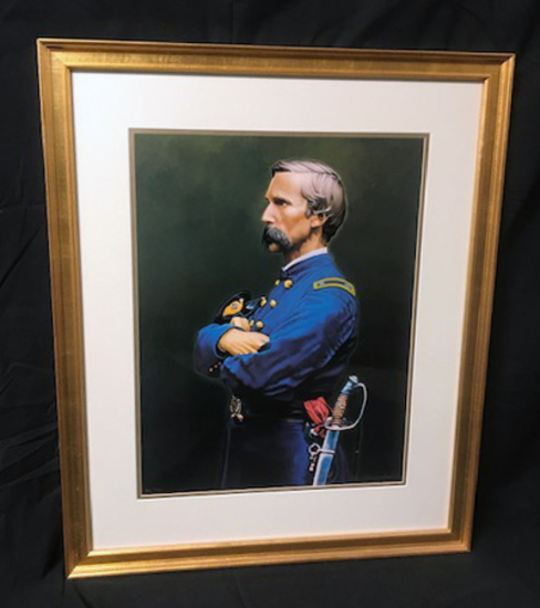 """""""JOSHUA CHAMBERLAIN"""" SIGNED PRINT, 96/500 BY KEN HENDRICKSON, DOUBLE MATTED AND FRAMED TO 25.5 X 31"""