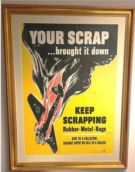 """""""KEEP SCRAPPING"""" WAR POSTER BOARD, SINGLE MATTED AND FRAMED 38 X 49.5"""