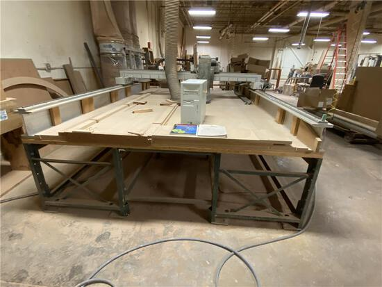 CUSTOM BUILT CNC ROUTER TABLE, 3-AXIS, 8' BRIDGE, 12'L TABLE, W/ CPU & BOB CAD-CAM SOFTWARE