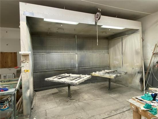 "PAINT SPRAY BOOTH, 16'9""W X 10'11""H X 11'9""D, REAR DRAFT, FIRE SUPRESSION SYSTEM, 2-ROTARY TABLES"