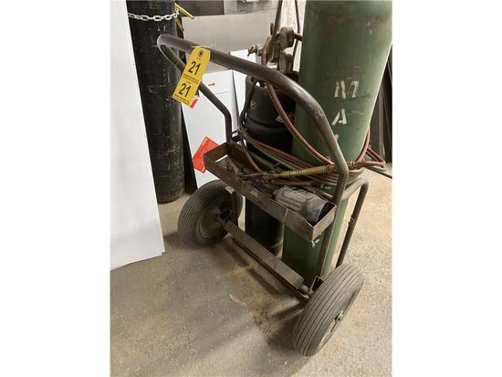 ACETYLENE TORCH, CART, HOSE & GAUGES (TANKS NOT INCLUDED)