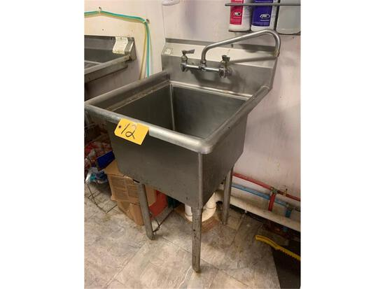 """SANISAFE STAINLESS STEEL 23"""" W X 24"""" D SINGLE BAY SINK (BUYER TO DISCONNECT)"""