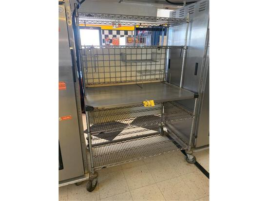 """METRO 4' W X 30"""" D STAINLESS STEEL TABLE W/ 2 UPPER RACKS AND 2 LOWER RACKS CASTERS"""