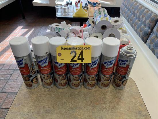 R-LOT:7-CANS OF WHITE CAP BAKERY RELEASE SPRAY (1-PARTIAL), LABELS