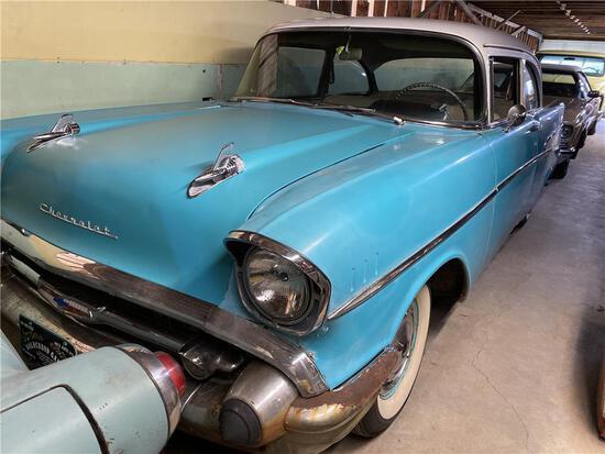 1957 CHEVROLET 210 2-DOOR SEDAN, 6-CYLINDER,  BLUE/WHITE, MILES: 91,551 VIN: B57T141191 - DD