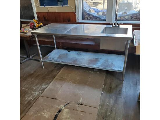 """72"""" X 30"""" STAINLESS STEEL TABLE WITH BUILT IN 17"""" X 17"""" SINK & FAUCET AND LOWER GALVANIZED SHELF"""