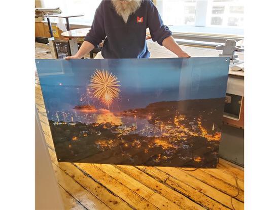 "CAMDEN FIREWORKS FROM MOUNT BATTIE BY BENJAMIN WILLIAMSON 40"" X 60"" ACRYLIC PRINT"
