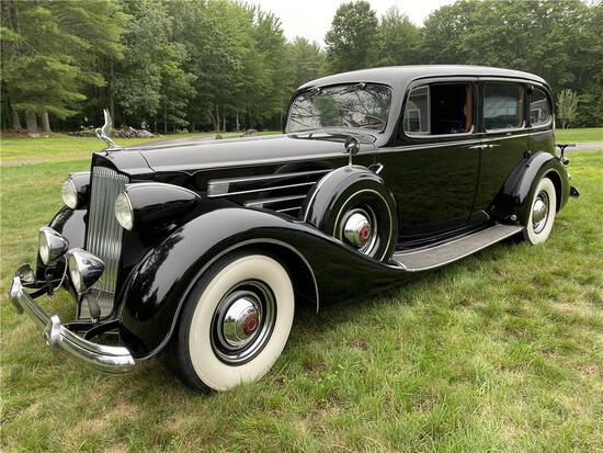 "1937 PACKARD TWELVE 1508 SERIES TOURING LIMOUSINE, 144"" WHEELBASE, 1,240 MI. SERIAL/ENGINE NO:906350"