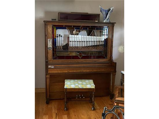 """AUTOMATIC MUSICAL INSTRUMENTS """"THE ENTERTAINER"""" COIN-OPERATED PLAYER PIANO W/BENCH, S/N: 44650"""