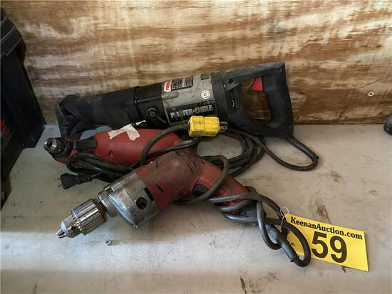 (3) POWER TOOLS; PORTA-CABLE TIGER SAW, RIGHT ANGLE DRILL, MILWAUKEE MAGNUM HOLE SHOOTER