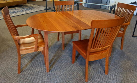 CHILTON FURNITURE 5-PC DINING SET: 5.5' SHAKER CHERRY OVAL DINING TABLE W/4-SLAT BACK CHAIRS