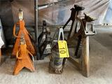 LOT: 7-ASSORTED JACK STANDS, 1-HYDRAULIC BOTTLE JACK