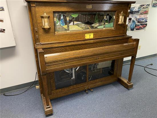 WATCH VIDEO 1924 J.P. SEEBURG PIANO COMPANY NICKELODEON PLAYER PIANO, TYPE A ROLL, STAINED ART GLASS