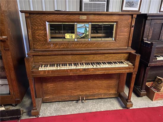 J.P. SEEBURG PIANO COMPANY NICKELODEON PIANO, S/N: 164308, STAINED ART GLASS, NEEDS REPAIR