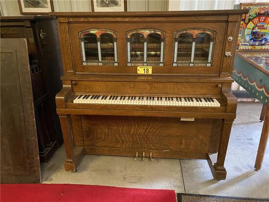 J.P. SEEBURG PIANO COMPANY NICKELODEON, S/N: 11283, PANCAKE MOTOR, STAINED ART GLASS