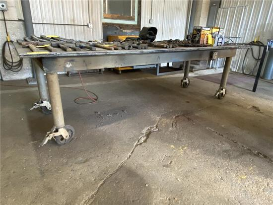 """4'W X 10'L X 36""""H PORTABLE POWERED STEEL FAB TABLE W/VISE"""