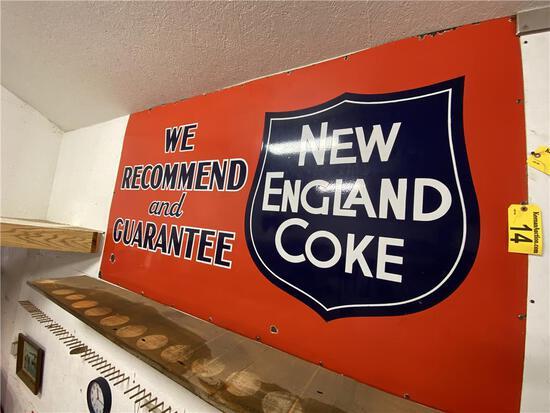 "NEW ENGLAND COKE ENAMEL SIGN, 84"" X 47.5"""