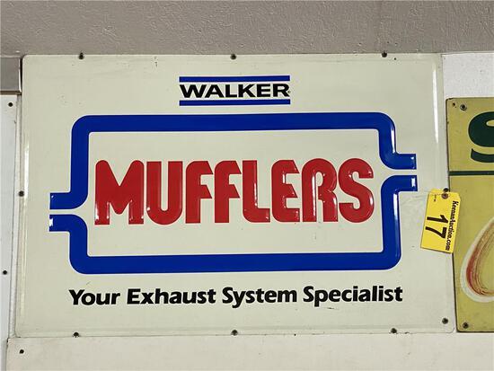WALKER MUFFLERS TIN SIGN, 3' X 2'