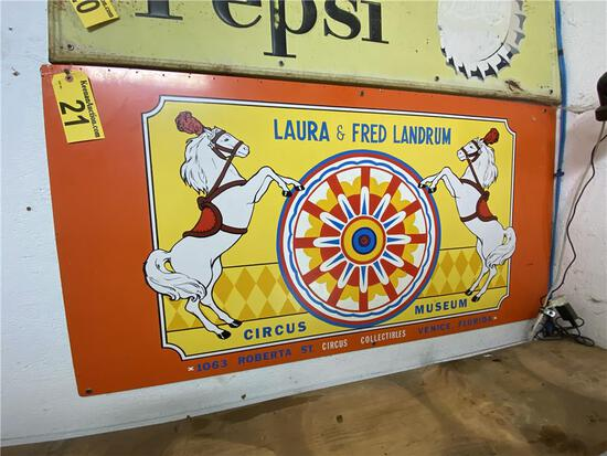"""LAURA & FRED LANDRUM CIRCUS MUSEUM FIREWOOD SIGN, 54"""" X 27"""""""