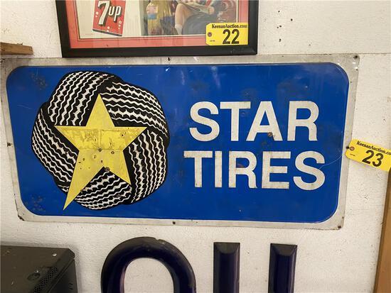 STAR TIRES METAL SIGN, 4' X 2'