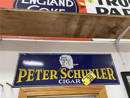 PETER SCHUYLER CIGAR TIN SIGN