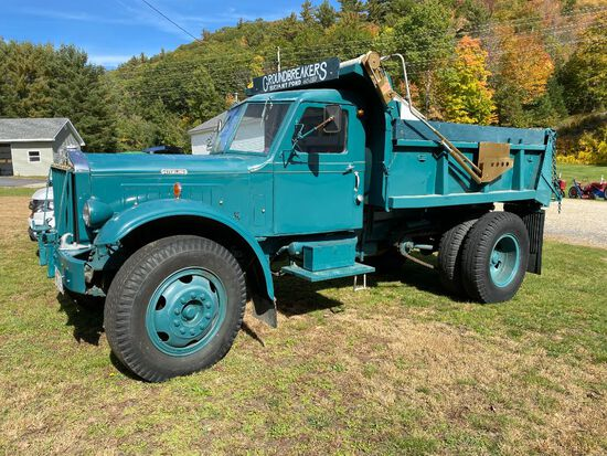 1947 STERLING HC144 CHAIN DRIVEN DUMP TRUCK, W/ 11' ANGLE PLOW