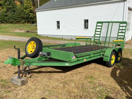 HOMEMADE 2-AXLE EQUIPMENT TRAILER, 7' X 16', SPRING ASSIST RAMP GATE, 2,500LB ELECTRIC WINCH