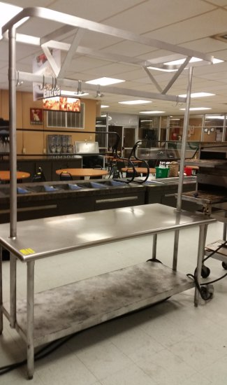 STAINLESS STEEL PREP TABLE WITH OVERHEAD POT RACK AND CAN OPENER