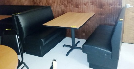 BLACK BOOTH WITH TABLE