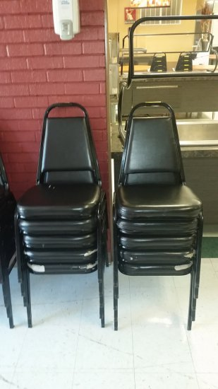 BLACK STACKING CHAIRS