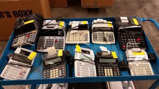 LOT OF 10 ELECTRIC PRINTING CALCULATORS