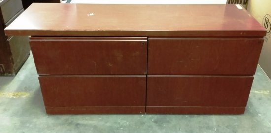 CHERRY COLOR CREDENZA WITH 4 LATERAL FILE DRAWERS