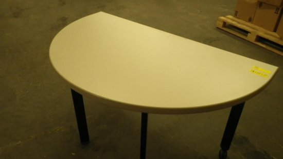 STEELCASE BEIGE HALF-MOON TABLE