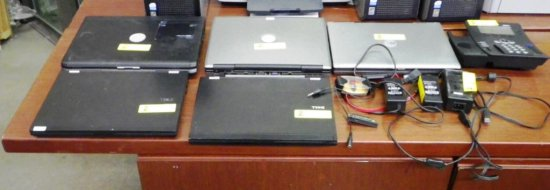 LOT OF 5 DELL NOTEBOOKS, 3  POWER ADAPTERS AND MORE