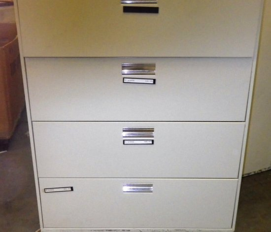 BEIGE 4 DRAWER LATERAL FILE