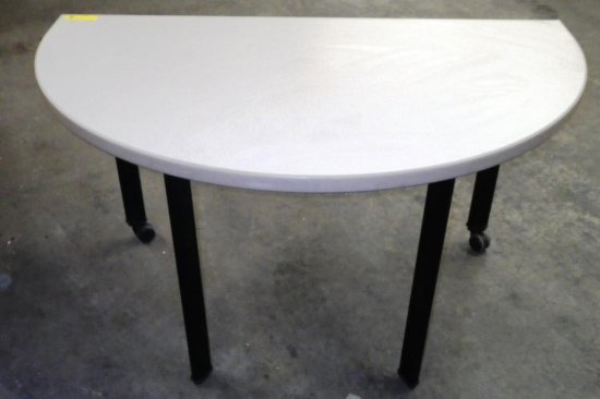 STEELCASE BEIGE TOP HALF-MOON TABLE