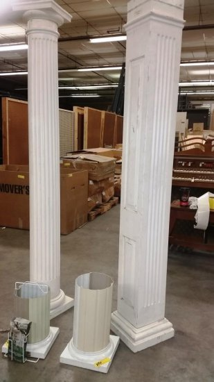 LOT OF 2 POLY CLASSIC COLUMNS - 1 ROUND, 1 SQUARE AND 2 TOPS