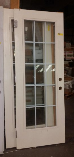 2 MASONITE CREAM COLOR FRENCH STYLE DOORS WITH HINGES