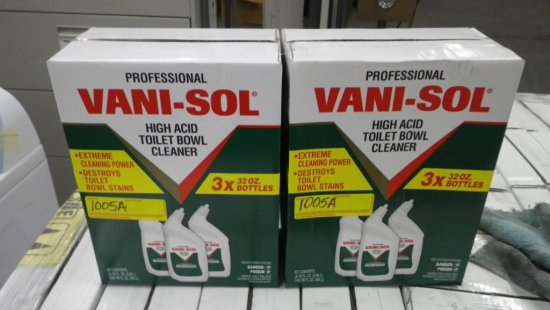 BOXES OF VANI-SOL HIGH ACID TOILET BOWL CLEANER - 3 BOTTLES PER BOX