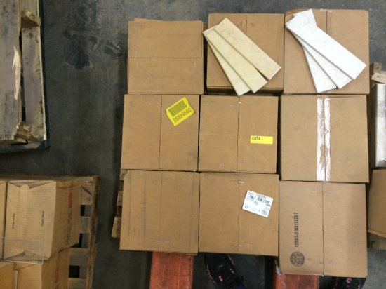 9 BOXES OF TILE IN GOLD SHELL AND CRUISER CREME