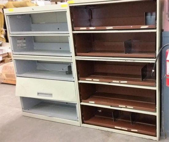LOT OF 2 BEIGE 5 DRAWER LATERAL FILES