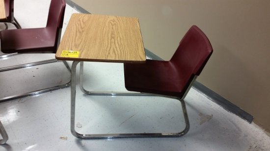 4 STUDENT DESKS WITH BURGUNDY PLASTIC CHAIRS