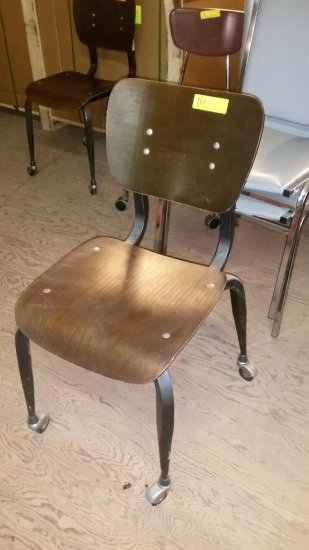 RETRO WOOD AND METAL ROLLING CHAIR BY AMERICAN DESK