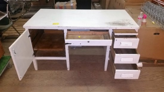WHITE WOOD DESK WITH 4 DRAWERS AND CABINET