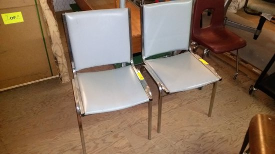 2 GRAY VINYL UPHOLSTERED STACKING METAL CHAIRS